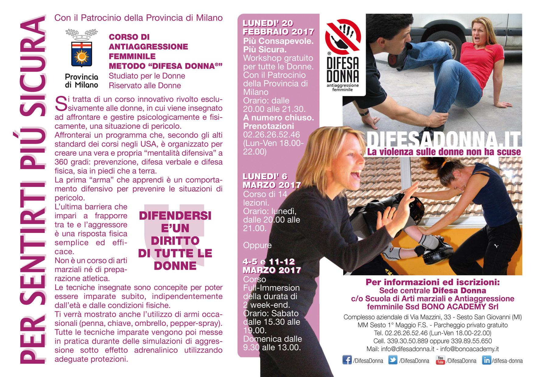 Difesa Donna Seminario gratuito Milano