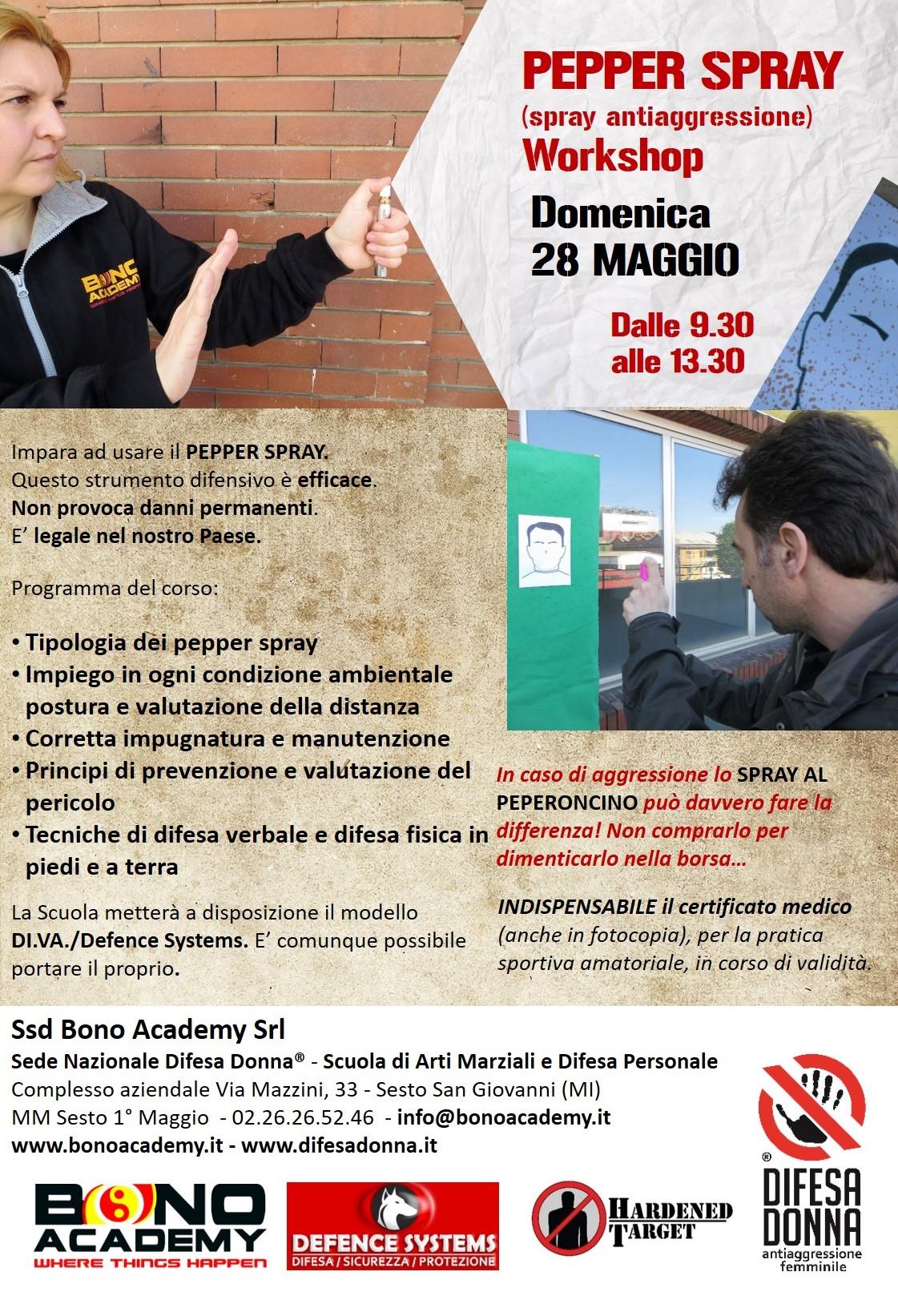 Seminario Pepper Spray antiaggressione 28 maggio 2017